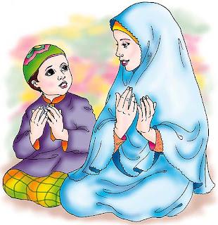 berdoa, pada, Allah, ibu, dan, anak, solat, soleh, muslim