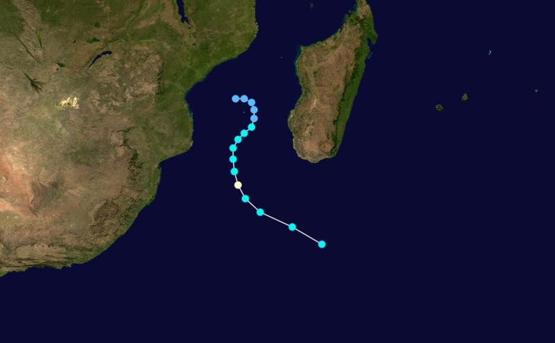 Trajectoire de la forte tempête tropicale Alda