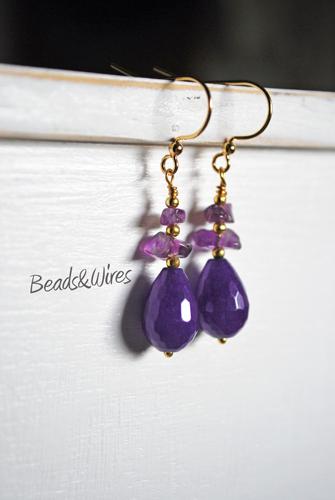 orecchino giada e fluorite viola
