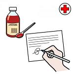 mano che scrive su una ricetta medica