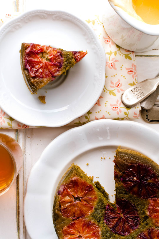 Orange & matcha upside-down cake