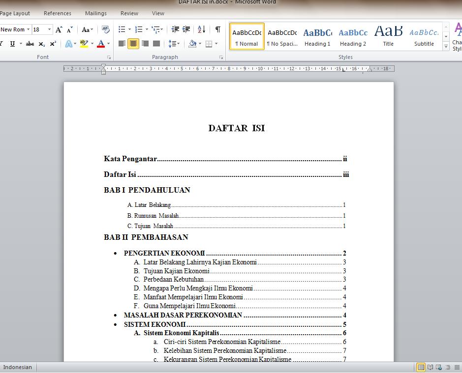 Cara Membuat Titik Titik Otomatis Daftar Isi di MS Word