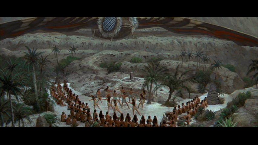 The occultists of Infant Island perform a ritual for Mothra