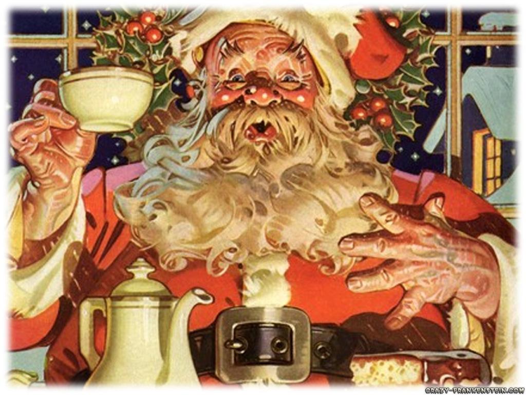 Santa Drinking Coffee Santa Claus Drinking Coffee