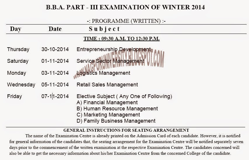 RTMNU BBA PART-3 EXAM TIME TABLE WINTER 2014 NAGPUR UNIVERSITY NAGPUR UNIVERSITY BBA FINAL YEAR EXAM TIME TABLE WINTER 2014 RTMNU