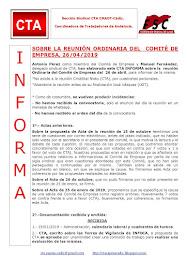 SOBRE LA REUNIÓN ORDINARIA DEL COMITÉ DE EMPRESA, 26/04/2019