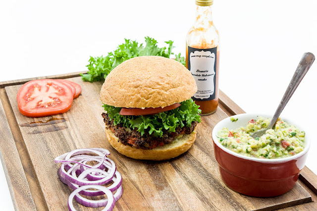 Mexican burger with guacamole and vegan burger shot for recipe