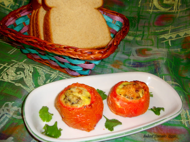 images for Baked Tomato Eggs / Baked Eggs in Tomato Cups Recipe