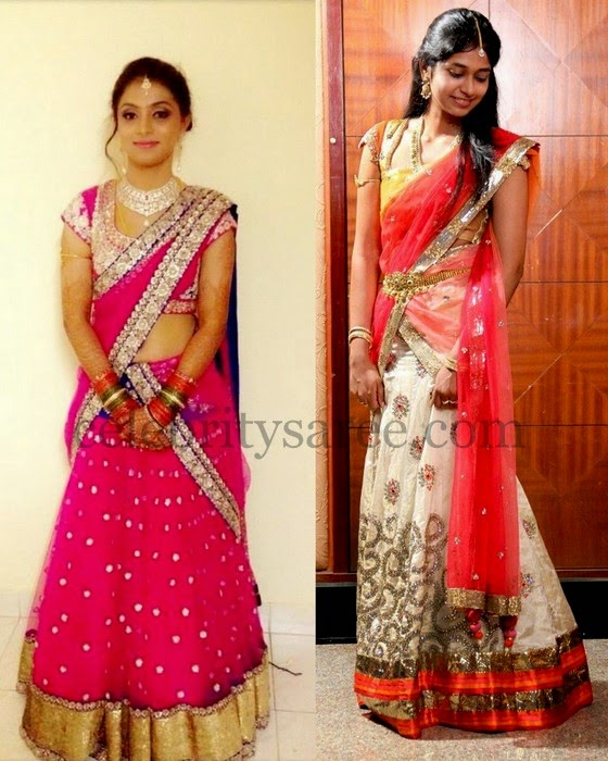 Pretty Half Sarees and Blouses