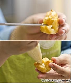 Cách làm bánh su kem thơm ngon không cần lò nướng11