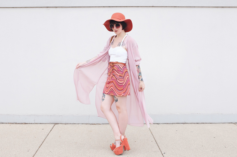 70s Boho Outfit with pink duster and platforms- Mini Penny Blog