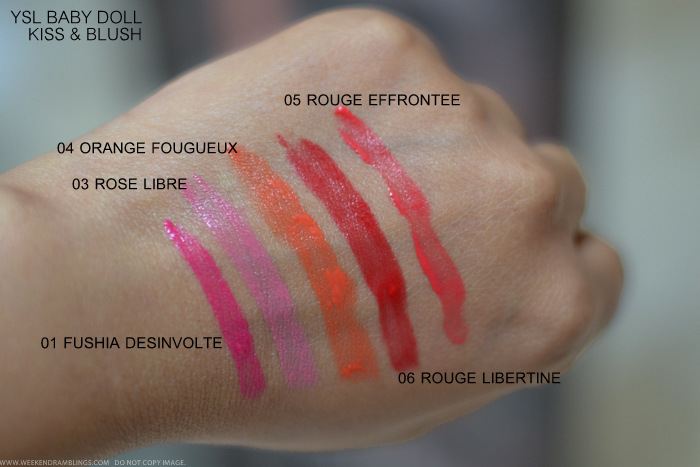 YSL Baby Doll Kiss Blush Swatches 01 Fuschia Desinvolte 3 Rose Libre 4 Orange Fougueux 6 Rouge Libertine 5 Rouge Effrontee