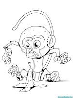 mewarnai gambar anak monyet
