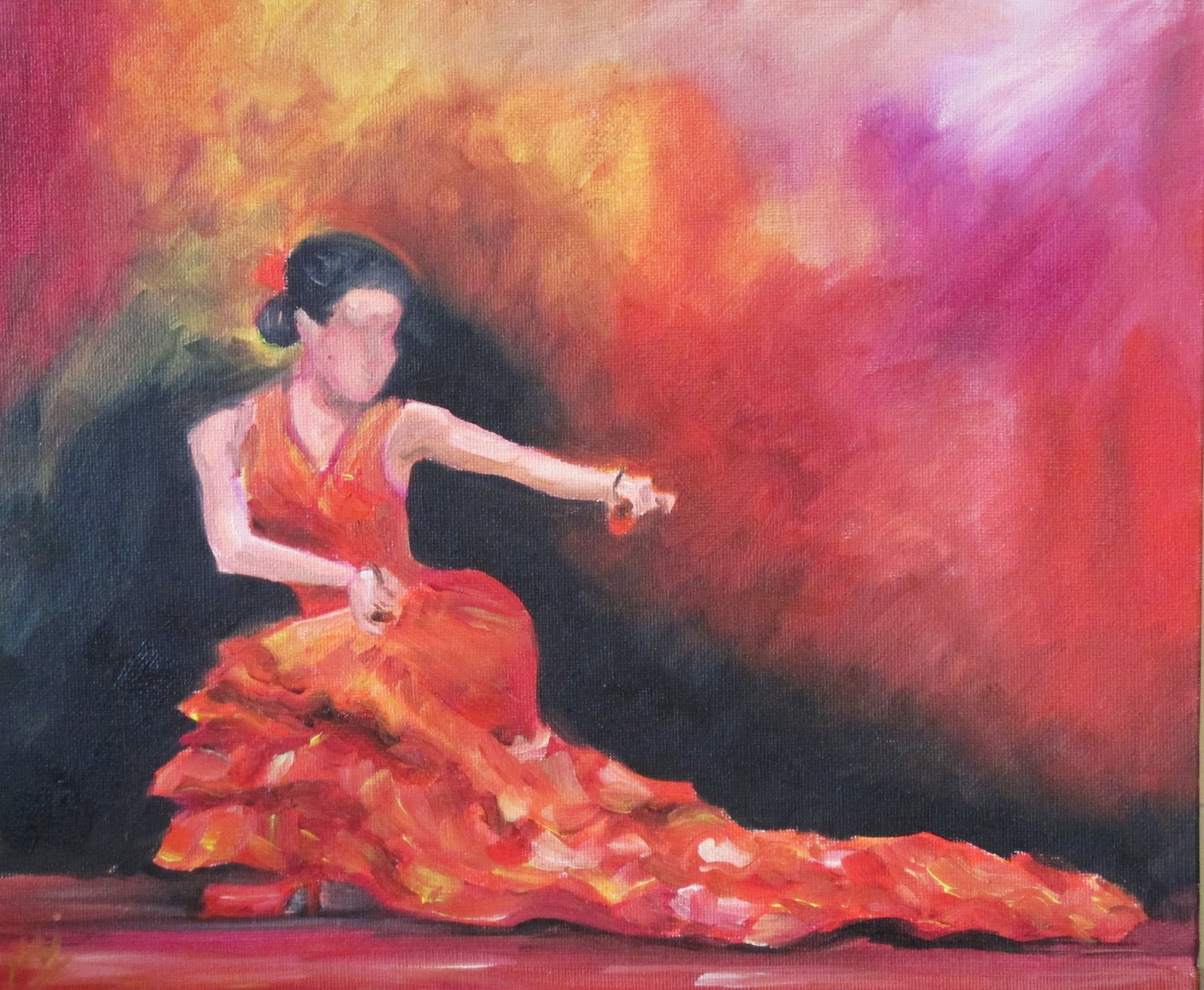 oil paintings by maria j jimenez playing castanets