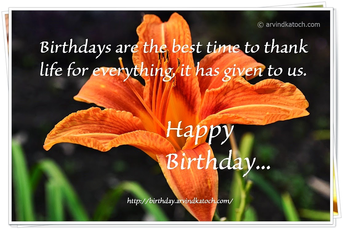 Birthday Card, Happy Birthday, Picture Card, Lily flower, Lily