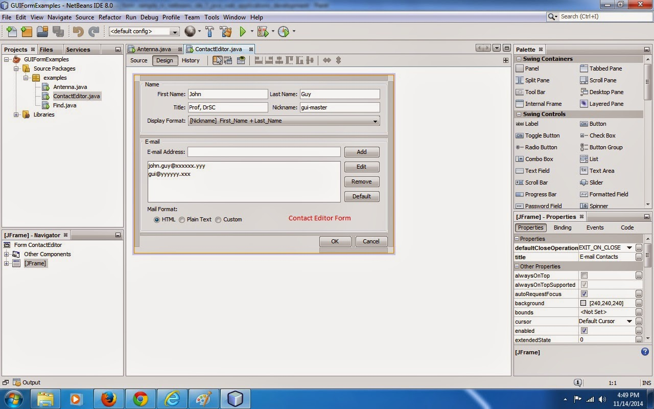 java sample form application, how to develop java swing GUI Form ...