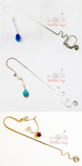 Wire bookmarks by Wirebliss for letter D, E, J