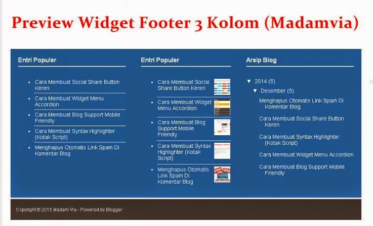 Cara Membuat Widget Tiga Kolom Footer Di bawah posting Blog
