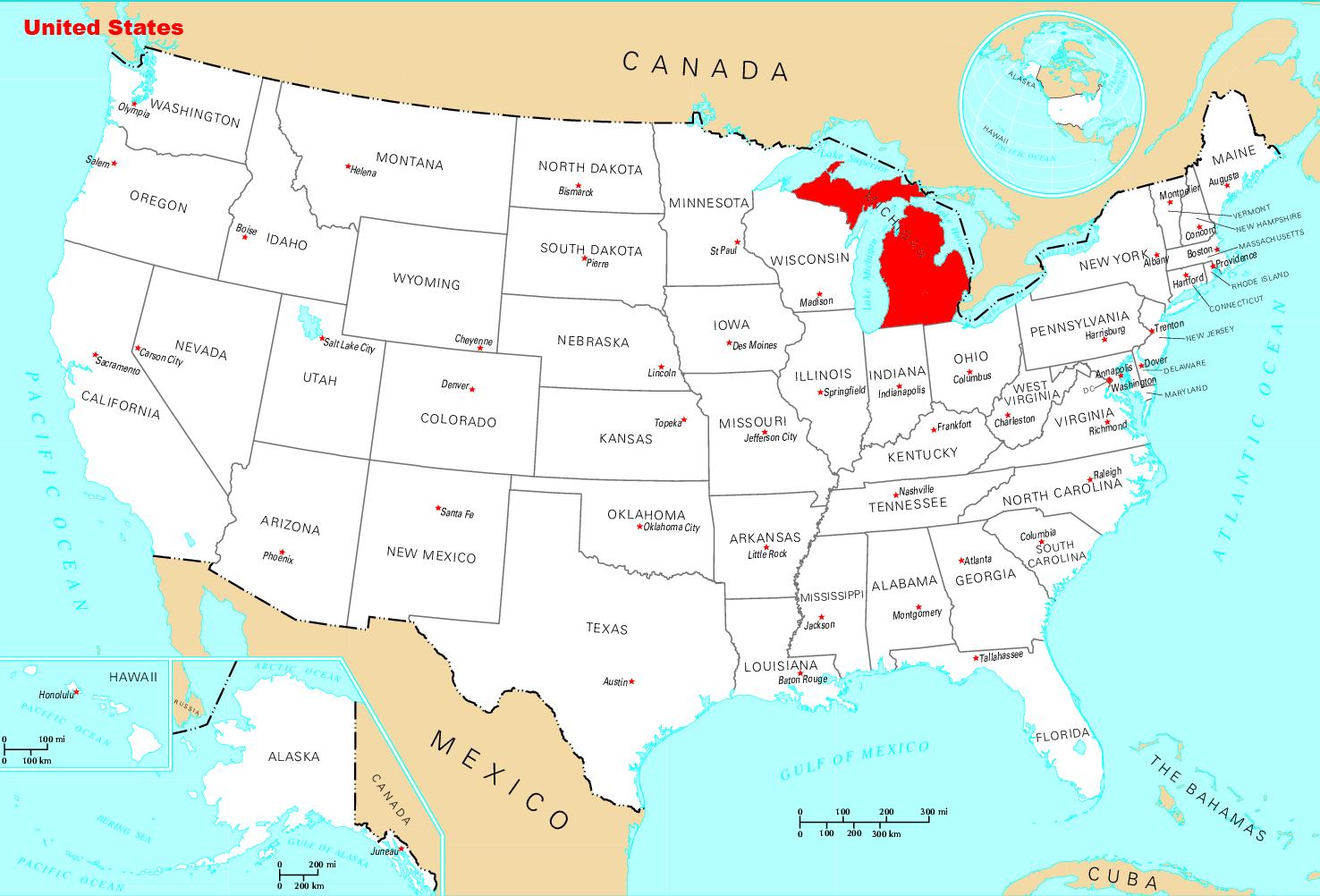 Usa Map Michigan - Michigan location in usa