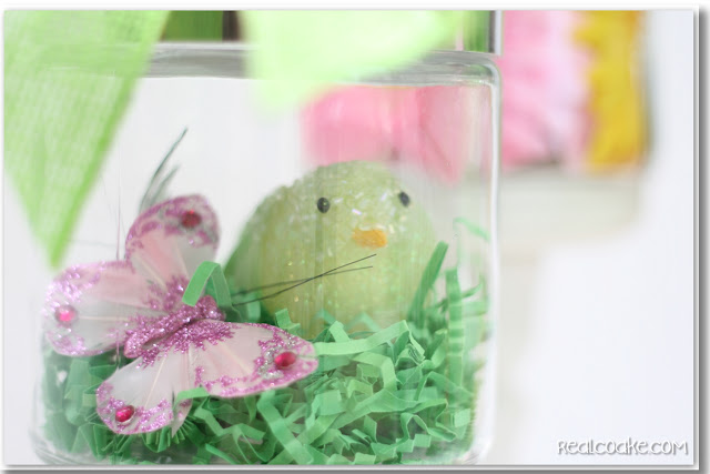 Spring decorating ideas using cute Apothecary Jars. #ApothecaryJars #Spring #Decorating