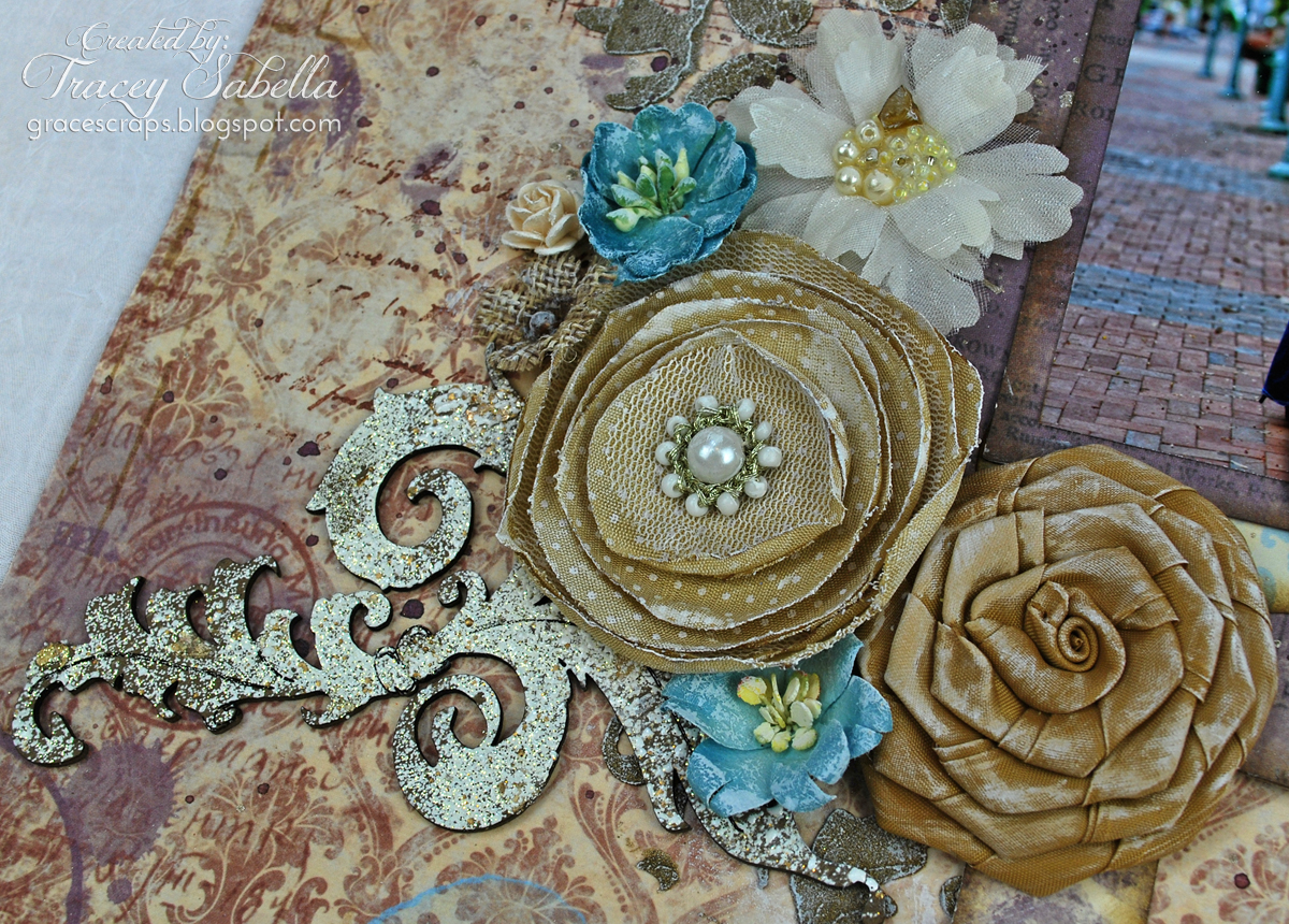 Mixed Media Wedding Layout by Tracey Sabella for Leaky Shed Studio - Embossed Chipboard