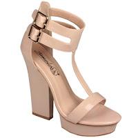 Sandale cu toc inalt si platforma, de culoare crem - Timeless (Timeless)