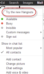 how to enable the google hangout from gmail