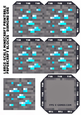 Large Scale Minecraft printable diamond ore