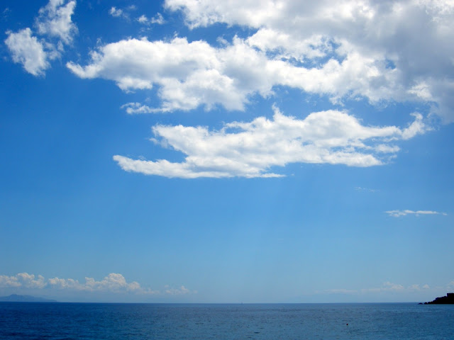 View of clouds, the sky and the ocean from Kefalonia, Greece