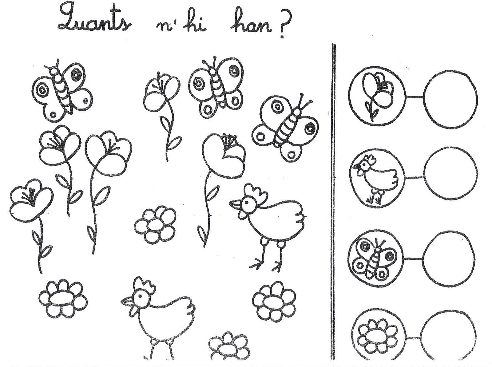 Fichas Infantiles: Fichas de números del 1 al 5