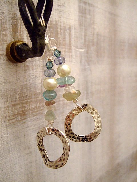 Hammered Gem Earrings