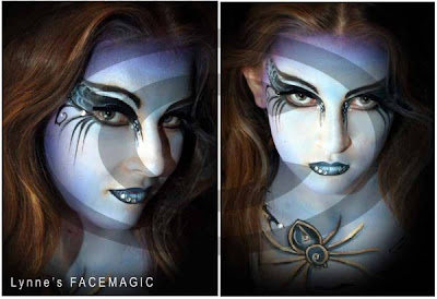 Girls night Out glamour face painting for halloween or just to feel beautiful. Blue face with spiderweb like eyes. Very pretty and scary