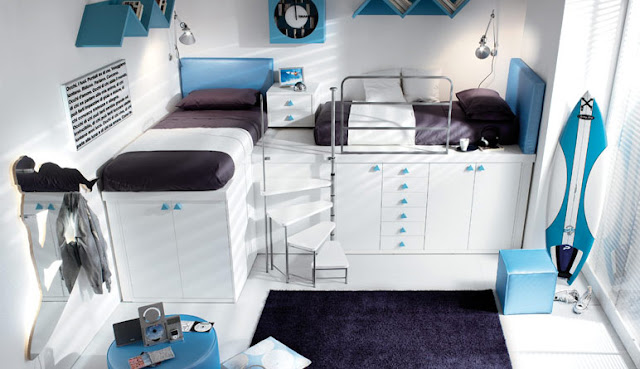 Creative-design-white-blue-bunk-beds-for-teenagers