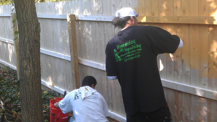 Cleaning then staining, we can transform your wood fence, Long Island NY