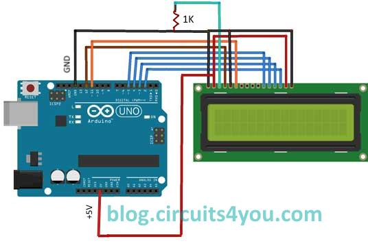 Lcd interfacing with arduino circuits you