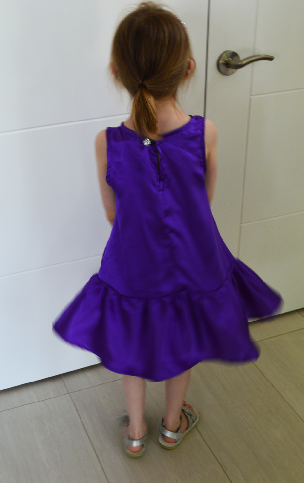 Purple silk Charlie dress sewn by Cicely Ingleside
