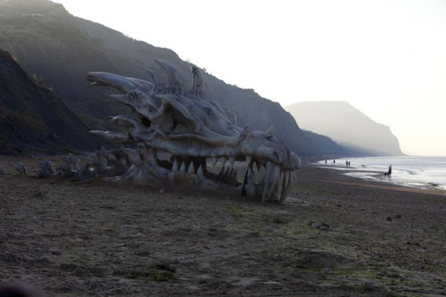 Giant Dragon Skull Appears On Dorset's Charmouth Beach
