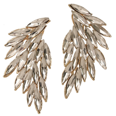 T+J feather crystal earrings