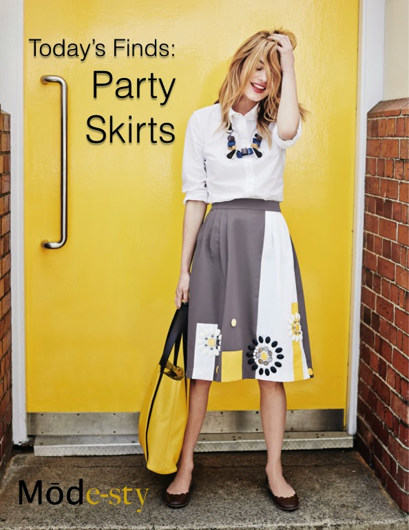 Party skirts bold colorful midi maxi covers knees | Follow Mode-sty for stylish modest clothing #nolayering tznius orthodox jewish muslim hijab mormon lds pentecostal islamic evangelical christian