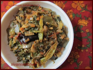 Brinjal spinach curry