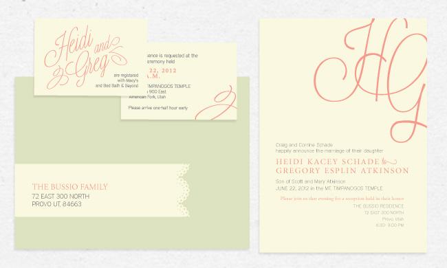 heidi greg lds wedding invitation