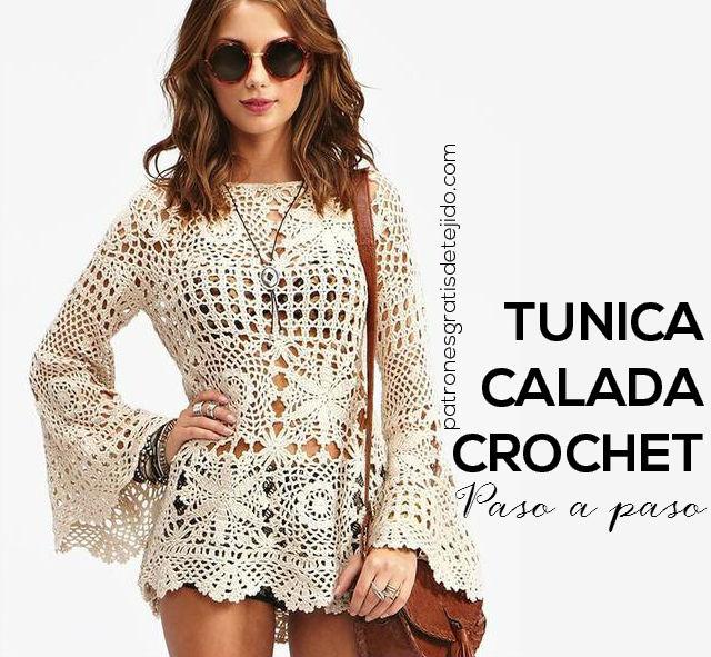 Túnica Calada al Crochet Paso a Paso | Crochet y Dos agujas ...
