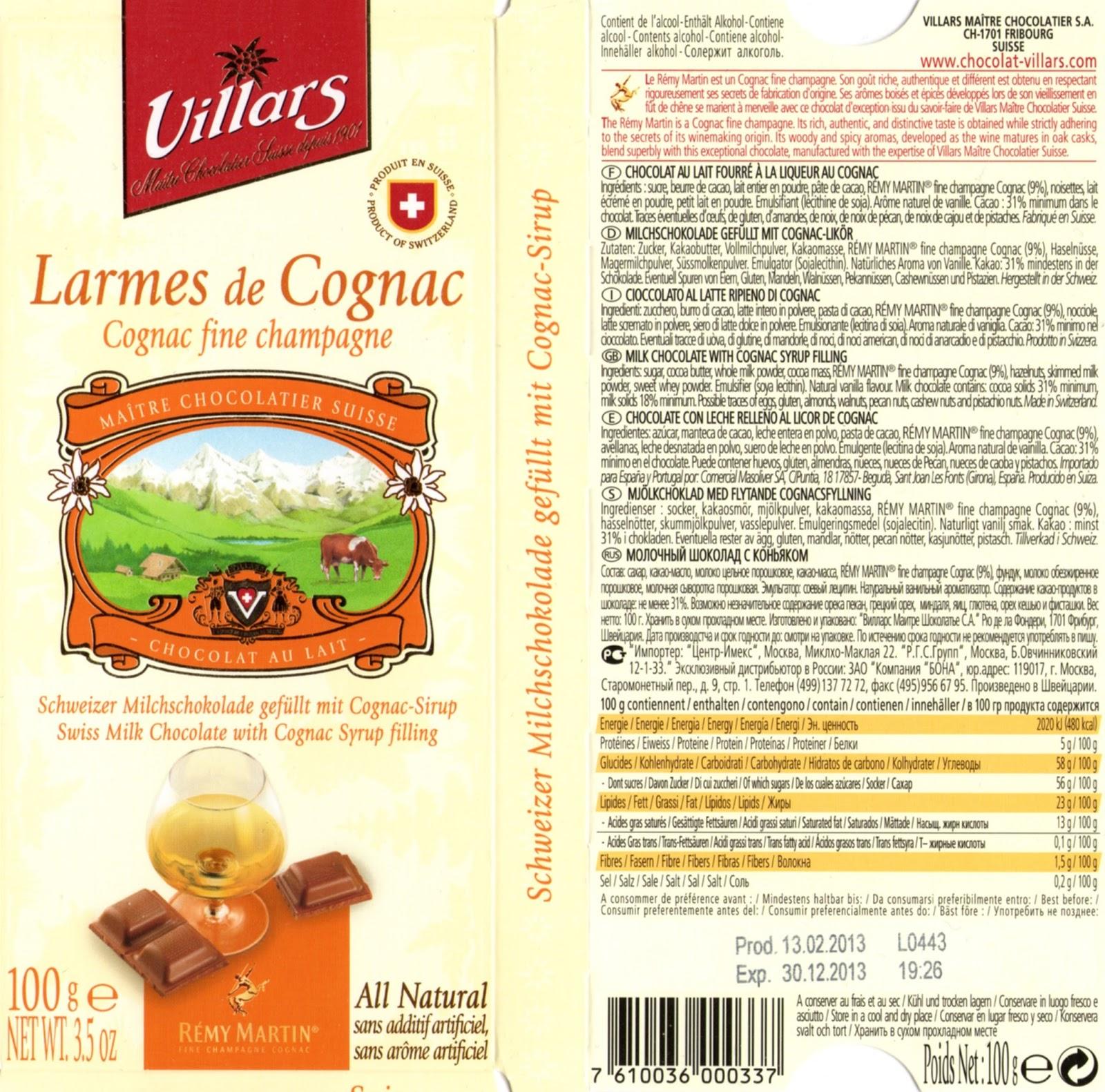 tablette de chocolat lait fourré villars lait larmes de cognac