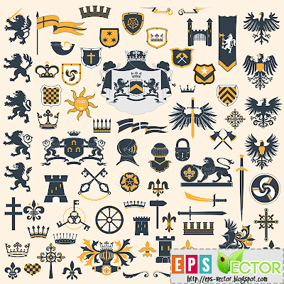 [Vector] - Collection of heraldry symbols