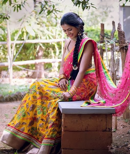 Floral Half Saree by Bhargavi