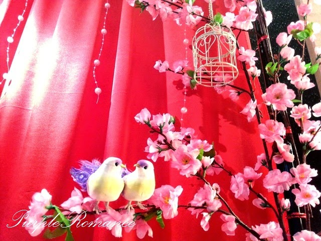 sakura, cherry blossom, shah alam, glenmarie, subang, selangor, wedding decoration, package, affordable, backdrop, stage, photo booth, photo viewing album table decoration, purple romance, purple collection, wedding event, love birds, bird cage
