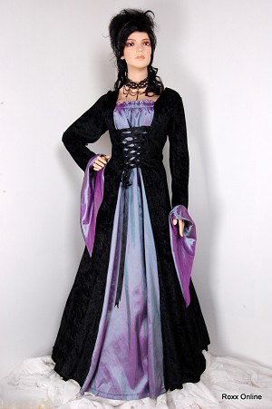 Black and purple wedding dresses with crape