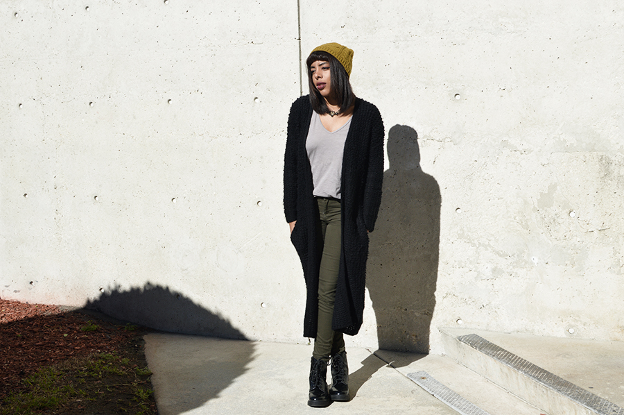 Minimalist indie Fashion Blogger Anais Alexandre of Down to Stars in a thick knit sweeper from H&M and patent leather combat boots