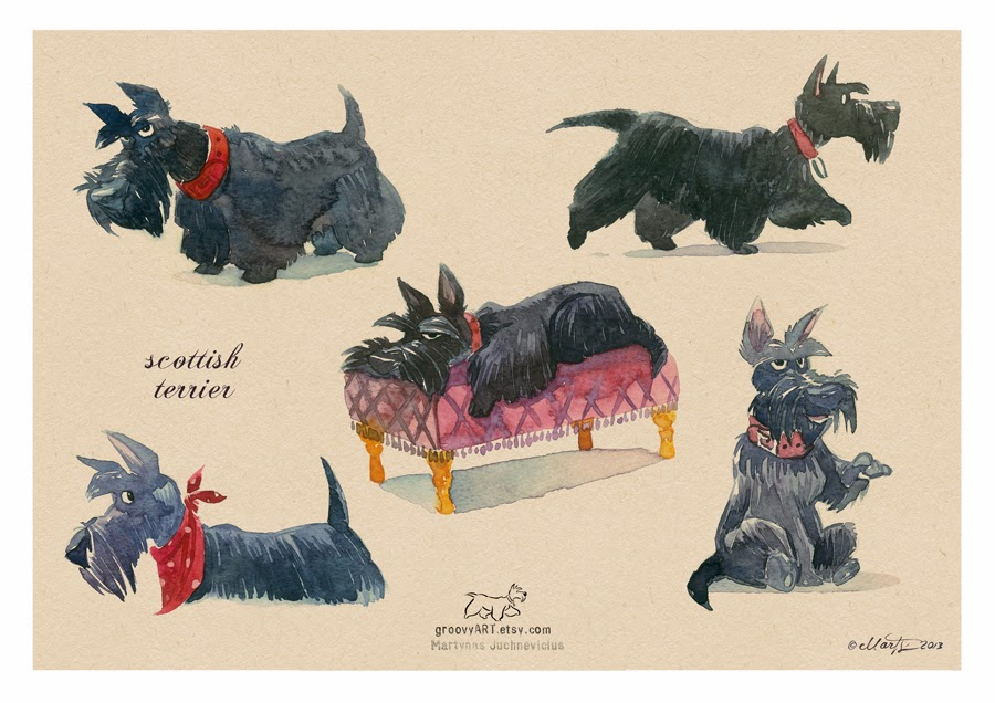 Scottish Terrier Cartoon Character Original scottie watercolours