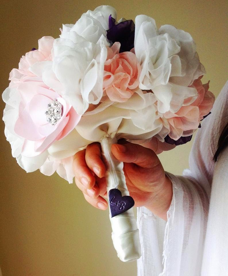 Bridal brooch bouquet with initials